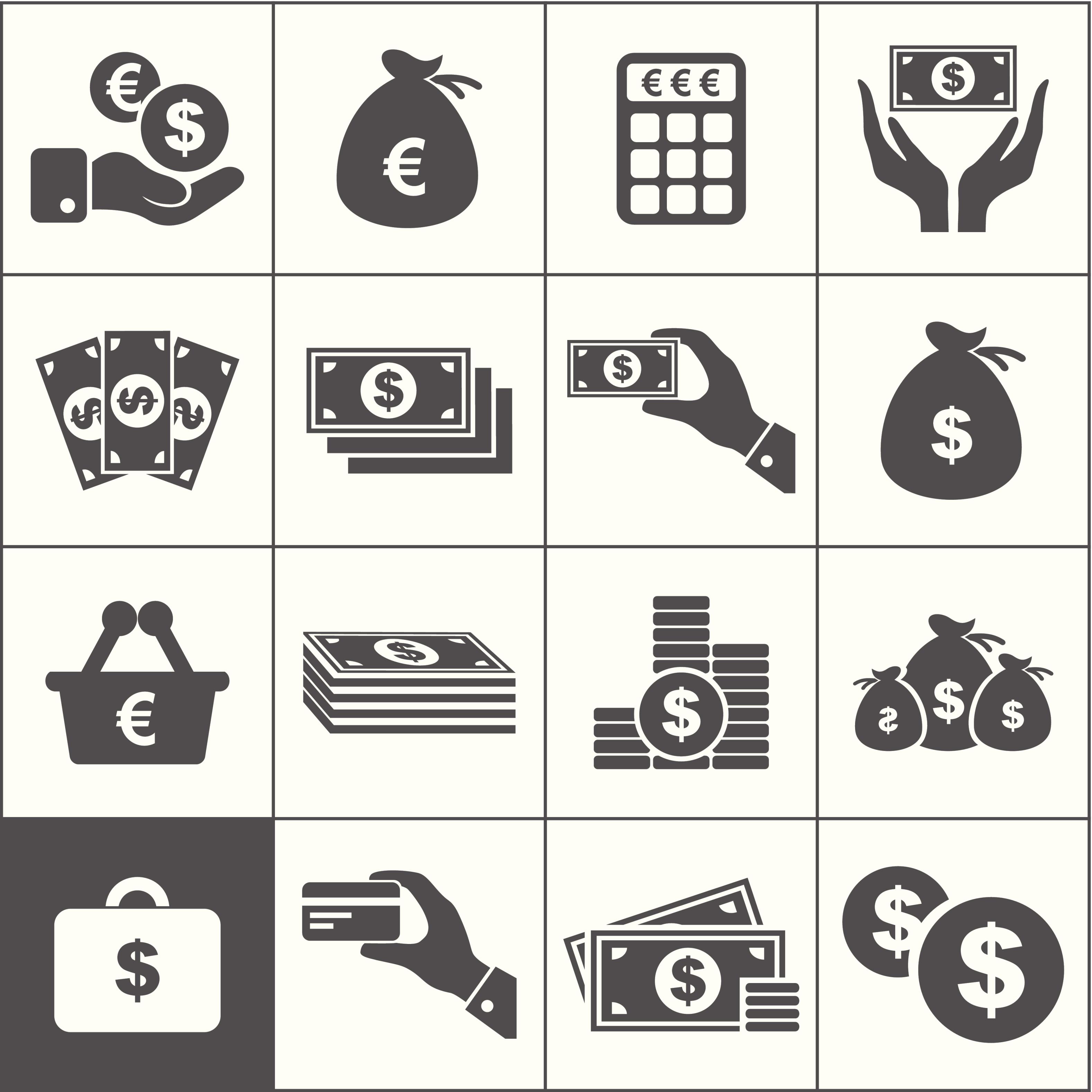 значки денег: