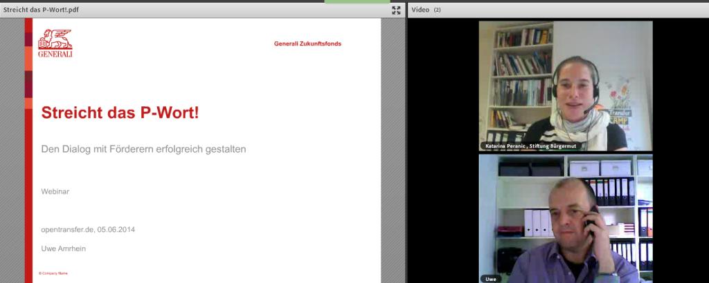 """Screenshot vom Webinar """"Streicht das P-Wort"""" mit Uwe Amrhein"""