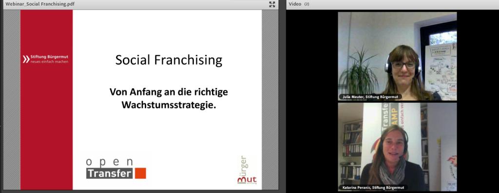 """Screenshot vom Webinar """"Social Franchising"""" mit Julia Meuter"""