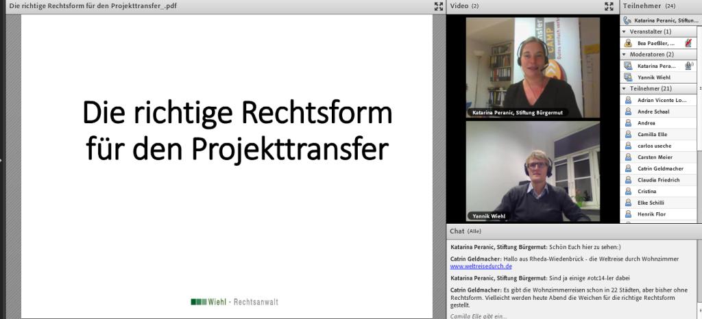 """Screenshot vom Webinar """"Die richtige Rechtsform für Projekttransfer""""."""