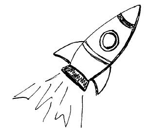 Eine gezeichnete Rakete beim Abheben