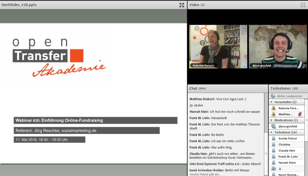 Ein Ausschnitt aus dem Webinar, der die beiden Referenten, den Chat und die Startslide anzeigt
