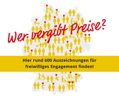 Eine Deutschlandkarte wirbt für die Preisedatenbank mit 600 Einträgen.