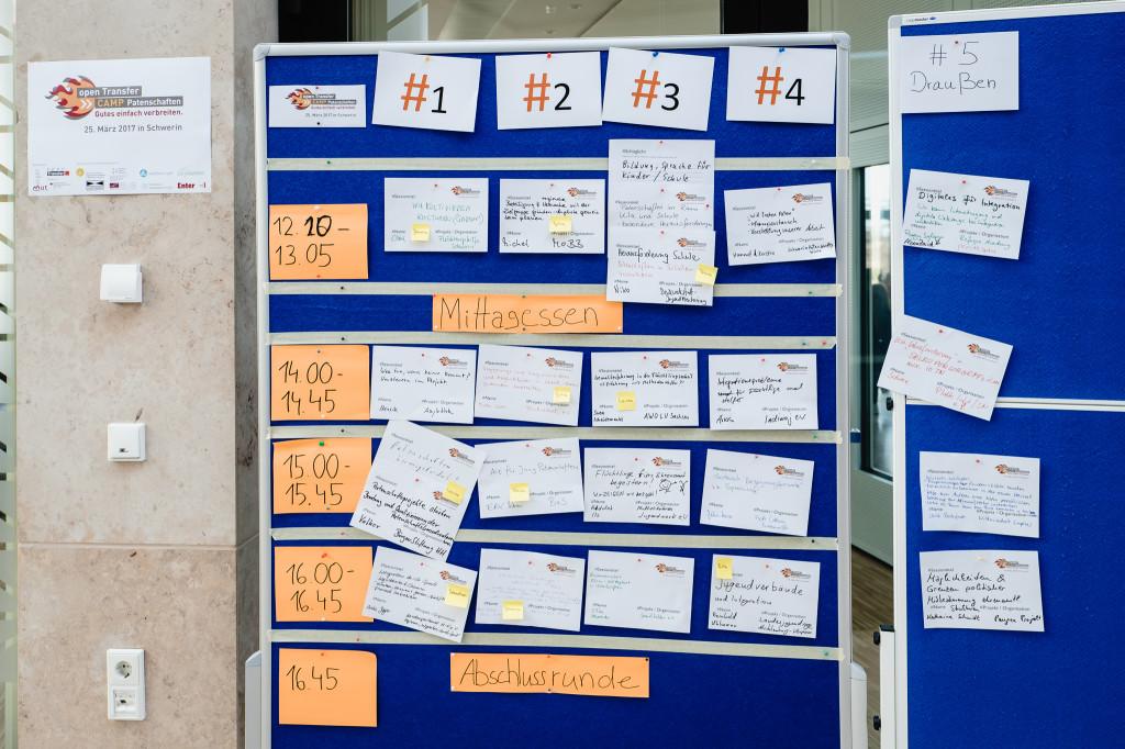 Der Sessionplan auf einer blauen Stellwand.