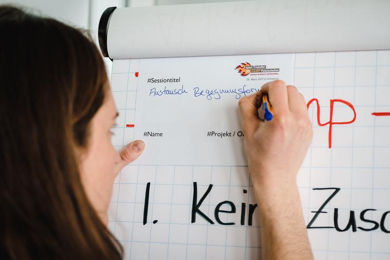 Frau nutzt ein Flipchart als Ablage um etwas auf einen Zettel zu schreiben